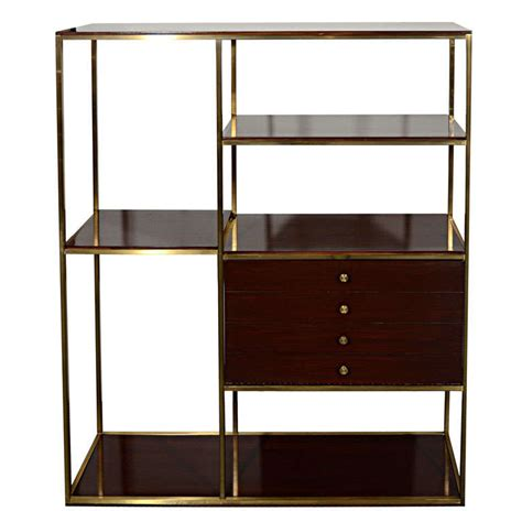 etagere bar modernist etagere in walnut wood and brass by paul mccobb
