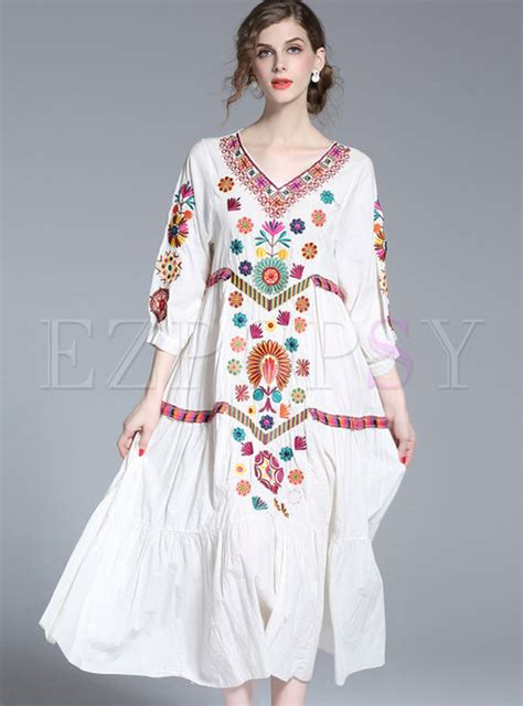 Etnic Maxy Dress dresses maxi dresses ethnic v neck embroidered