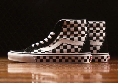 vans checkered pattern vans sk8 hi checkerboard upper and soles reissue
