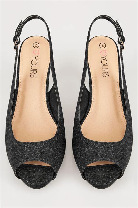 Visa Gift Card Price Check - black glittery peep toe sling back heels in true eee fit
