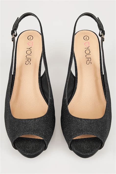 black glittery peep toe sling back heels in true eee fit
