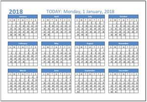 2018 Calendar Template Excel 2018 Calendar Templates For Ms Excel Word Excel Templates