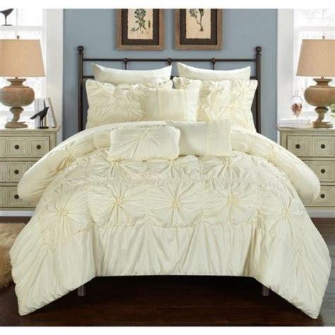 rosette comforter set new twin queen king bed ivory rosette ruffled 10 pc