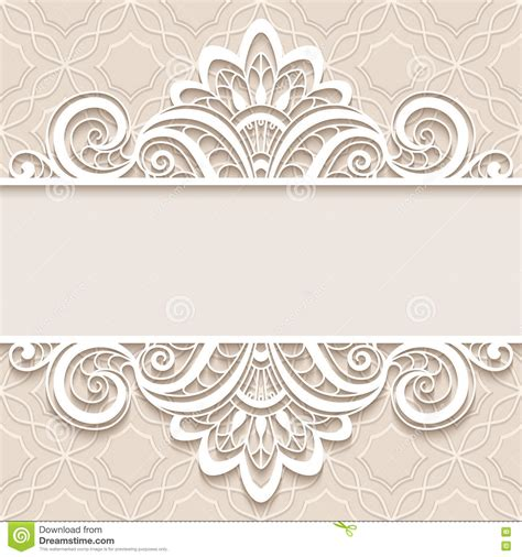 decorative card design ornamental paper frame with lace border stock vector