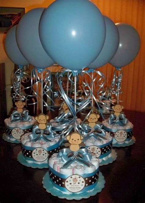 blue centerpieces for baby shower monkey baby shower diapers centerpiece with balloon baby blue brown things i like