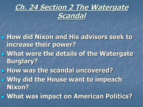 Chapter 24 Section 2 by Ppt Chapter 24 Section 1 The Nixon Administration