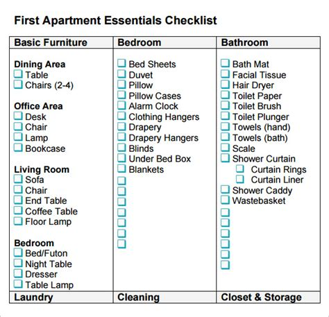 first home essentials checklist sle new apartment checklist 7 documents in pdf word