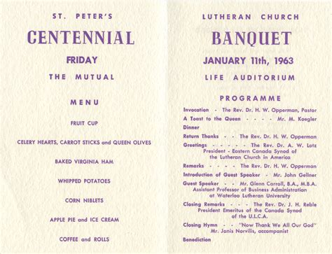 banquet program template church banquet program