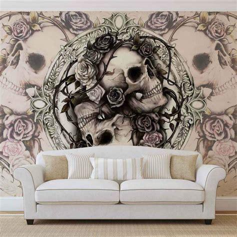 wall mural photo wallpaper xxl skull alchemy roses ws