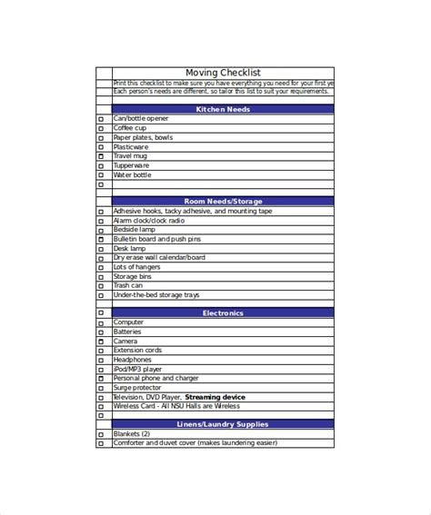 Moving Checklist Template 20 Word Excel Pdf Documents Download Free Premium Templates Relocation Template