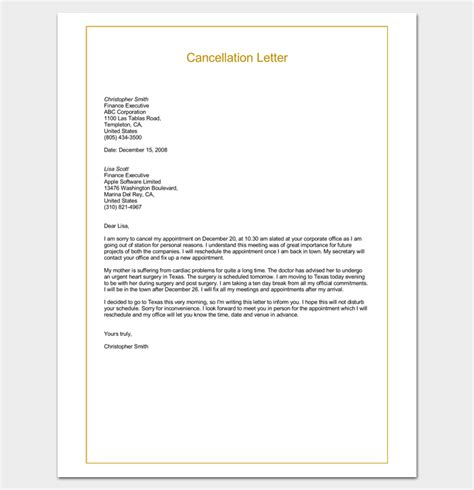 apology letter for cancellation of sle cancellation letter format word doc letter