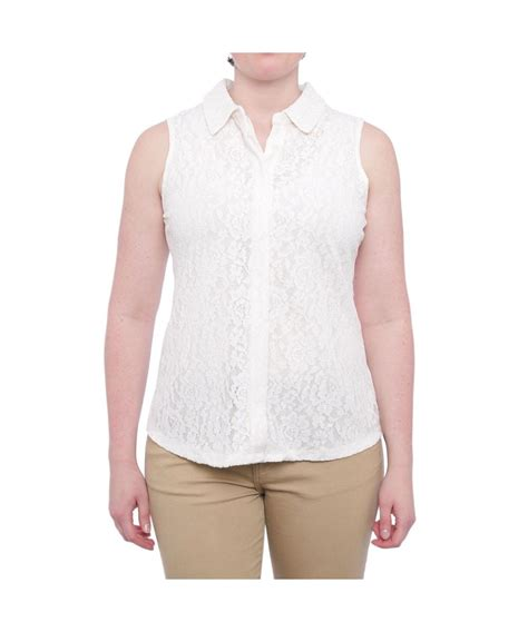 Charter Club Blouse Ccb Branded Tunik charter club lace sleeveless button blouse regular blouse in white lyst