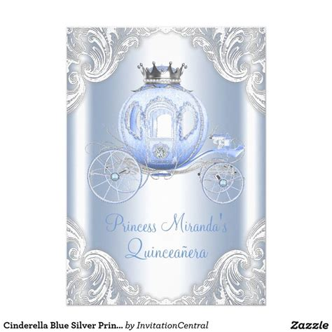 cinderella themed quinceanera invitations cinderella blue silver princess quinceanera card