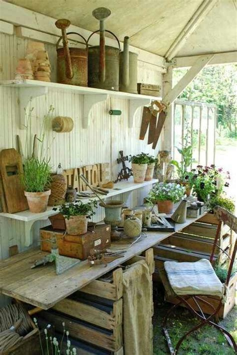 potting shed interior with rustic country design idea garden sheds the seasoned homemaker
