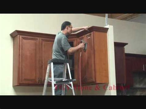 installing kitchen cabinets youtube fgy stone cabinet crown molding installation youtube