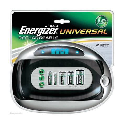 Dijamin Charger Energizer Recharge Compact Aa Aaa 9v new energizer universal rechargeable battery charger aa aaa c d 9v compact size ebay
