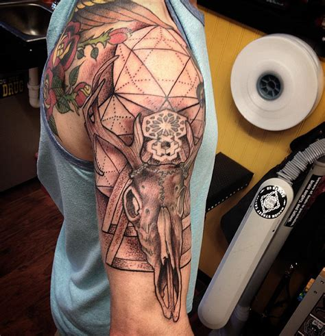 right arm half sleeve tattoo designs 45 deer skull tattoos pictures with meanings