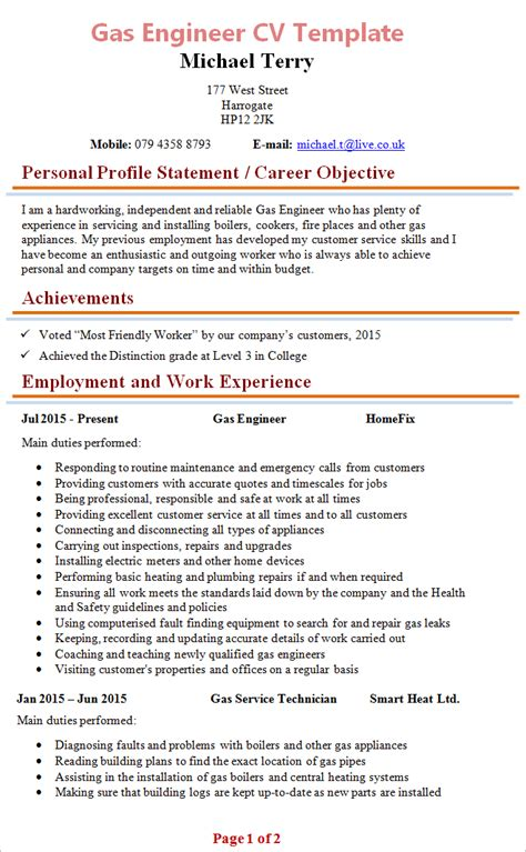 Plumbing Resume Examples by Gas Engineer Cv Template 1
