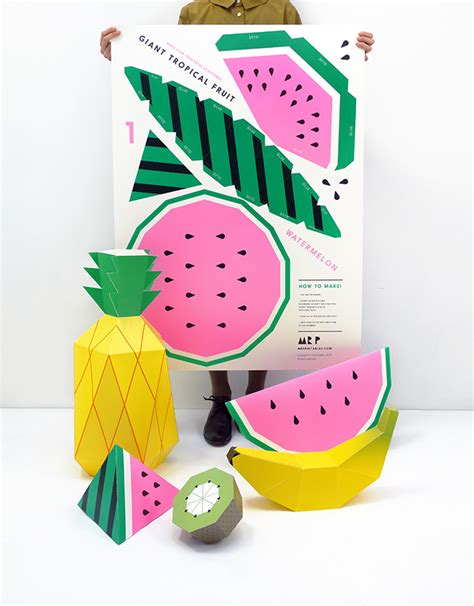 How To Make Fruit Out Of Paper - tropical fruit paper sculpture kit mr printables