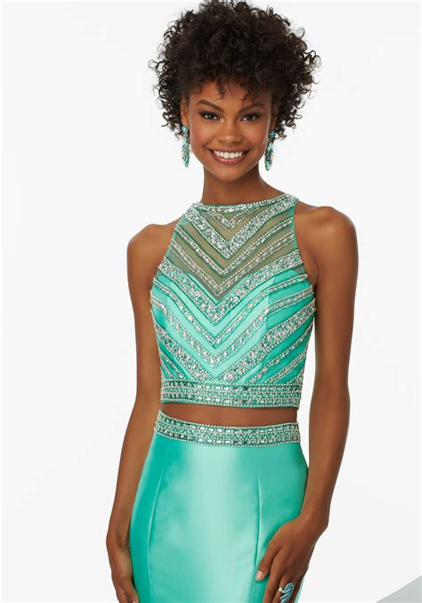 Latisa Dress two prom dress with beaded net top style 99039