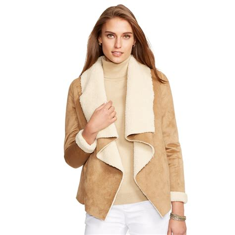 faux shearling drape jacket ralph lauren faux shearling jacket in brown lyst