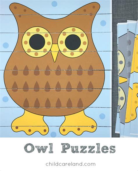 printable owl puzzle home www childcareland com
