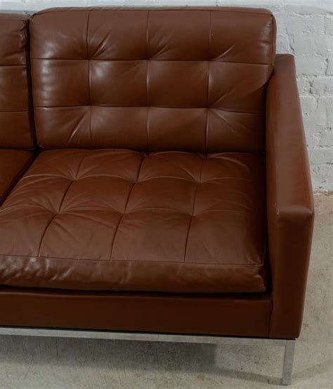 chocolate brown leather sofa classic chocolate brown florence knoll leather sofa at 1stdibs