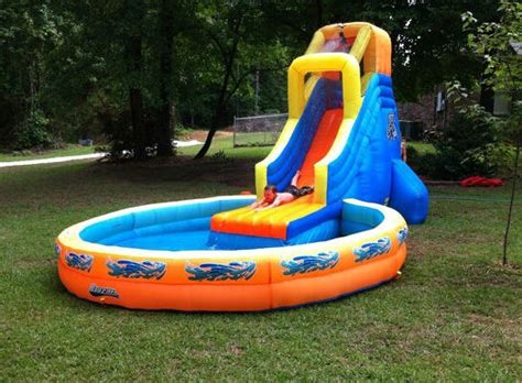 backyard water slides with pool swimming pool