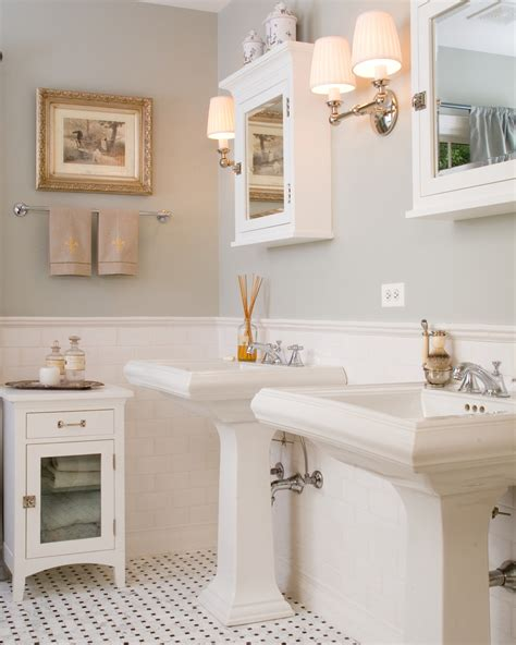 Baroque kohler medicine cabinets in bathroom traditional with silver sage paint next to wainscot