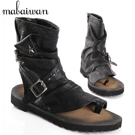summer motorcycle boots 2017 fashion summer punk style men sandals gladiator