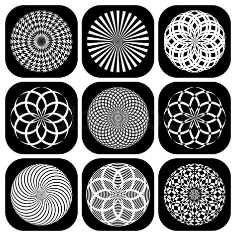 pattern circle shape design elements set decorative patterns in circle shape