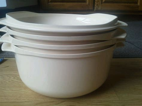 Microwave Tupperware set of 4 microwave tupperware stacker casserole cookware quart lid vintage euc other