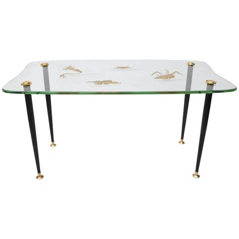 sea glass table l cocktail table with etched glass quot sea quot motif and