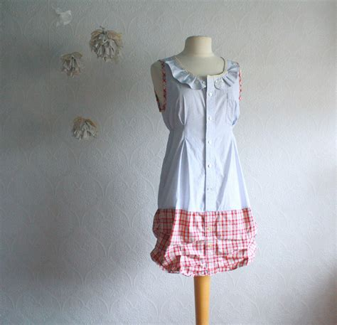 women s clothing shabby chic dress blue red plaid upcycled