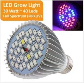 Led Growlight 6 Watt Perlengkapan Hidroponik jual grow light 30 watt 40 led spectrum ir uv bibit