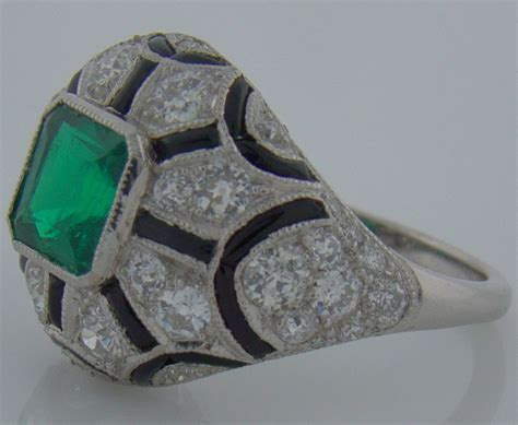 Handmade Emerald Ring - platinum emerald and onyx handmade ring at 1stdibs