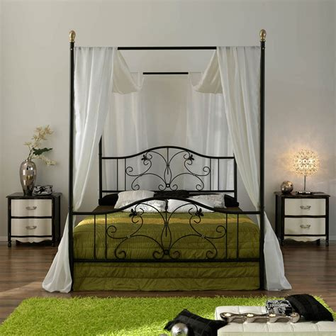 Bed Frame With Curtains Iron Canopy Bed Frame Homesfeed