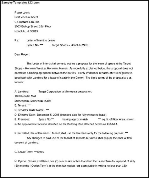 letter of intent sle real estate lease template ms word