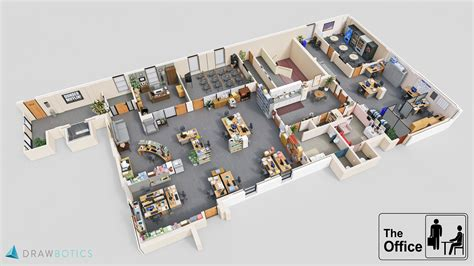 The Office Us Floor Plan | famous tv shows brought to life with 3d plans drawbotics