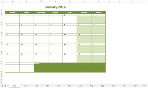monthly calendar 2016 excel excel templates for every