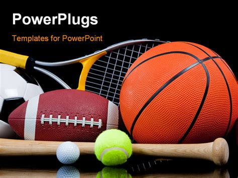 Group Of Sports Equipment On Black Background Including Free Sports Powerpoint Templates