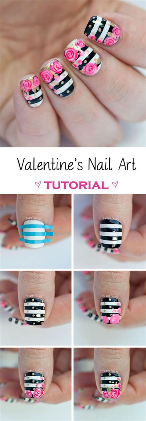 nail art drawing tutorial 15 step by step valentine s day nail art tutorials for