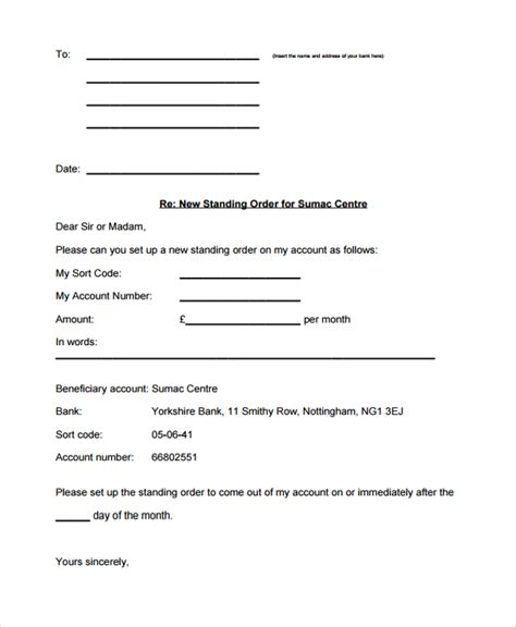 Bank Letter In Standing Sle Order Letter 17 Documents In Pdf Word