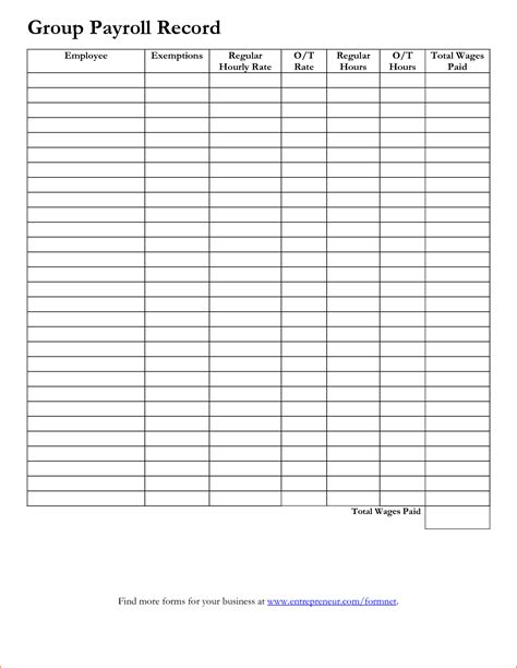7 Employee Payroll Record Template Secure Paystub Individual Payroll Record Template