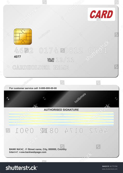 card template with front and back blank credit card vector template front stock vector