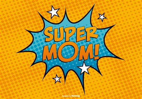 comc style super mom illustration download free vector
