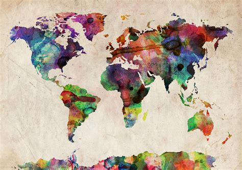 Watercolor World Map by World Map Watercolor By Michael Tompsett