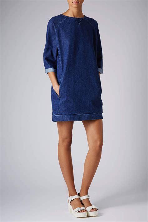 Jumper Denim Dress lyst topshop moto denim jumper dress in blue