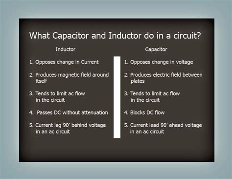 purpose of inductor and capacitor in a circuit electrical engineering
