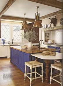French Country Kitchen Island Blue Island And Oven In French Country Kitchen Kitchens